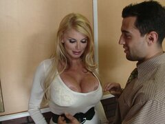 Super hot blonde milf Taylor Wane goes on her knees for titfuck