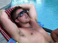 Guy gets his hairy ass hammered by the studly pool boy outdoors