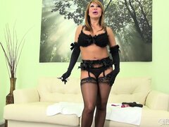 Big titted Ava Devine in her sexy lingerie takes off her panties