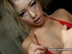 Beautiful Japan princess Rumika teasing three guys with her amazing body