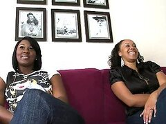 Chubby Ebony girls with big natural boobs are serving two big cocks