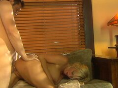 Hussy blonde slut Rhyse Richards rides the cock and gets hammered from behind