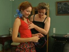 Horny mom and daughter having lesbian sex