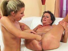 Blonde Teenie Having Lesbian Sex with Granny...
