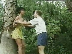 Jungle babe is saved by a stud...