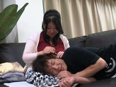 Randy Mature Chubby Japanese Rides Cock on the Couch