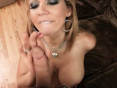 Cougar in a plaid skirt gives a sexy POV titjob and a blowjob