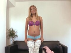 Blonde tempting beauty Kazzandra-z is very shy at her first porn interview. Slowly she takes off her clothes and reveals her hot body figure while teasing filthy dude in office.