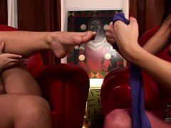 Peek-a-boo pantyhose for these hot brunette moms is a naughty turn on