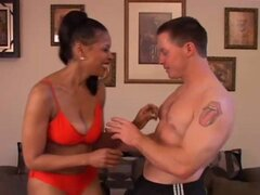 Sexy mature black babe fucks younger white guy