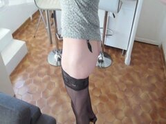Tranny wanking toying...