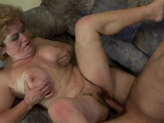 Blonde granny Effie moans crazily while getting her vag fucked hard