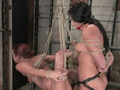 Two chicks suffer a misfortune in the awesome basement
