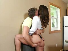 A sexy brunette MILF sells a house in exchange for her nice mature pussy.