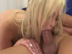 Thick blonde woman with massive tits sucks and fucks like a queen