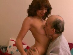 Horny teen pleases old guy