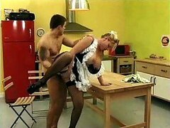 French maid in kitchen fucked in ass