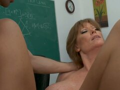 Basted grandma Darla Crane as a teacher riding on a cock in school class