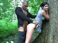 Double Blowjob and Outdoors Sex with Euro Brunette Slut