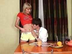 Eager teen practices with cock