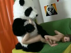 Slutty hot teen gets shagged hard and deep by Panda