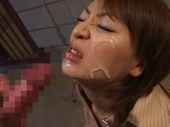 Nasty Asian babe gets cum on her innocent face