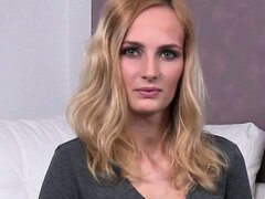 Skinny blonde euro hottie Jenny fucked and facialed during her casting