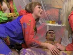Czech teens suck and fuck cfnm paint gang bang