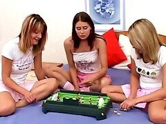 Three salacious lesbians play dirty games in the bedroom