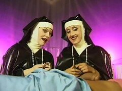 Two Nuns Share A Patient's Cock
