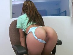 Attractive young long haired brunette slut Ariel Teens with natural boobs and back tattoo teases tight sexy ass in white undies and fingers her tight minge in close up at interview.