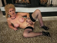 Needy Grandma Masturbating with Fingers and Sex Toys