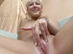 German blonde gets paid for porn