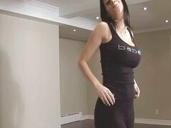 Fucked with legging and jizz on her round butt
