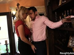 Horny Charlee Chase fondles the house inspector and offers up her tits