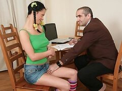 Horny old teacher tricks seductive brunette coed into having sex with him in exchange of better grades