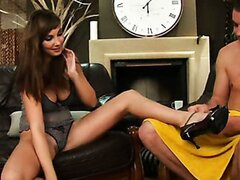 Gorgeous brunette in a sexy outfit gets some good dick from a dude in this hot scene.