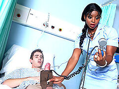Sexy and sweet ebony nurse is taken care of her patient's big cock.