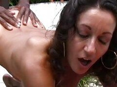 Heavy chested milf with hairy twat enjoys in interracial sex