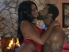 Hot busty ebony gets his cock hard and gets fucked hard