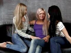 Angelic brunette and blonde lesbians kissing in a great three way lesbian orgy