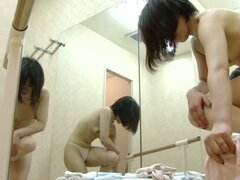 Asian stays nude in changing room after sport classes