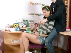 A slutty little schoolgirl gets fondled and fucked by her older college going boyfriend