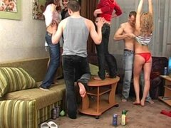 Three Cocks Taking Care of Four Horny Sluts in Group Sex Party