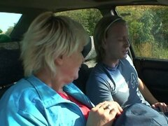 Hitch hiking blonde granny fucked hard by big young cock in car