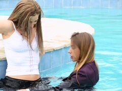 Nikky Thorne is swimming with her clothed babe