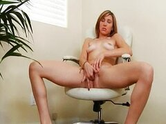 blonde stripping pussy on chair