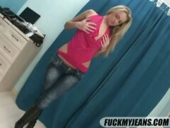 Sexy blonde on tight jeans gets anal fucked in doggy style