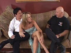Blonde Cheating Wife Getting Double Teamed In Front of her Cuckold Hubby