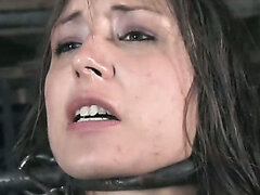 Cock hardening bondage BDSM scene with one tender bitch